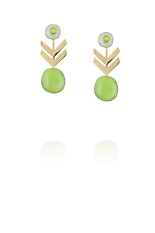 Gold plated lime green glass cabochon with specs arrow earrings by IKROOP