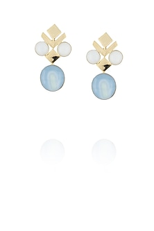 Gold plated white and blue glass cabochon with specs earrings by IKROOP