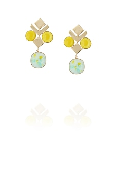 Gold plated yellow and green glass cabochon with specs earrings by IKROOP