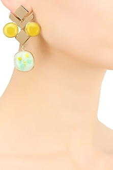 Gold plated yellow and green glass cabochon with specs earrings