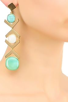 Gold plated white and green glass cabochon with specs dangler earrings by IKROOP