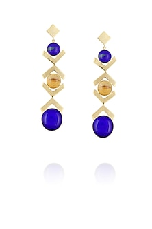 Gold plated blue and gold glass cabochon with specs dangler earrings by IKROOP