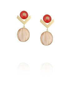 Gold plated red and brown glass cabochon with specs dangler earrings by IKROOP