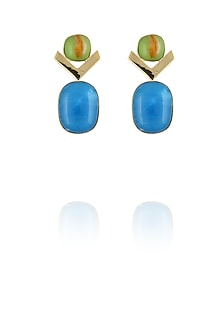 Gold plated green and blue glass cabochon with specs dangler earrings by IKROOP
