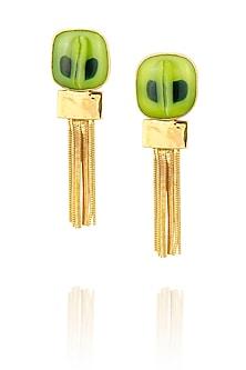 Gold Finish Green And Dark Green Dot Fused Glass Chain Tassel