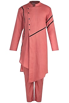 Coral Kurta Set With Diagonal Front Button by Bohame
