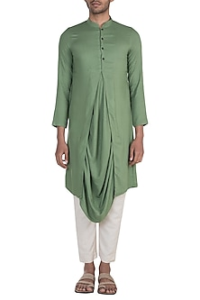 Green Cowl Draped Kurta by Bohame