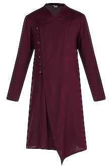 Maroon Front Button Kurta by Bohame