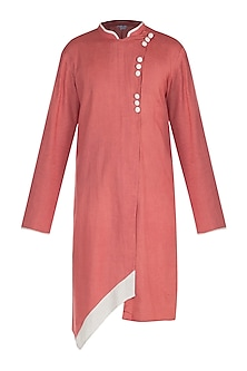 Coral Mandarin Collared Kurta by Bohame