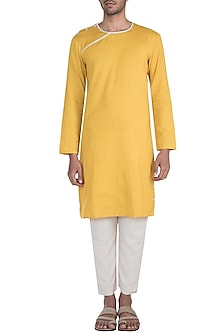 Yellow Kurta With Shoulder Buttons by Bohame