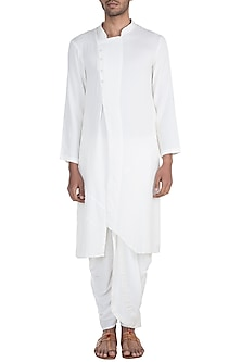 White Kurta With Side Buttons by Bohame
