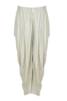 Cream Cotton Dhoti Pants by Bohame