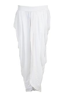 White Cotton Dhoti Pants by Bohame