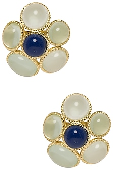 Fleur Studs In Shades Of Green by The Bohemian