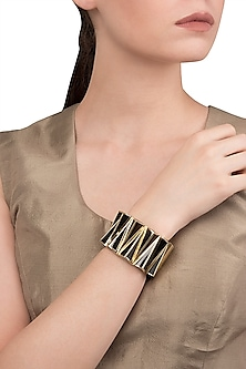 Black and Gold Zigzag Bangle by The Bohemian