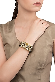 Green and Gold Zigzag Bangle by The Bohemian