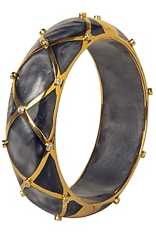 Grey and Gold Ribbon Facet Bangle by The Bohemian