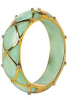 Green and Gold Ribbon Facet Bangle by The Bohemian