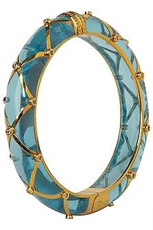 Aqua Blue and Gold Ribbon Facet Bangle by The Bohemian