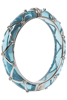 Aqua Blue and Silver Ribbon Facet Bangle by The Bohemian