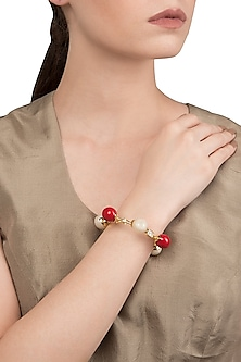 White and Red Zircon Ball Bangle