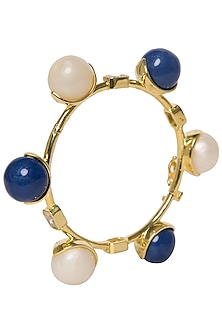 White and Blue Zircon Ball Bangle by The Bohemian