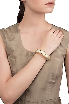 White and Gold Ribbon Facet Bangle by The Bohemian