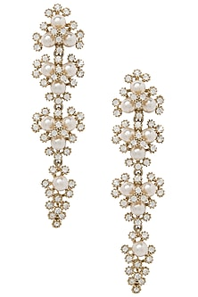 Gold Plated Pearl Dangler Earrings by The Bohemian