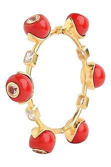 Gold Plated Red Zircon Audrey Bangle by The Bohemian