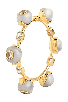 Gold Plated Grey Zircon Audrey Bangle by The Bohemian