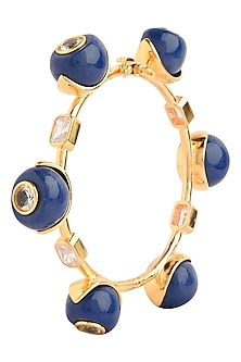 Gold Plated Navy Blue Zircon Audrey Bangle by The Bohemian