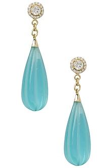 Gold Plated Aqua Blue Pumpkin Drop Earrings by The Bohemian