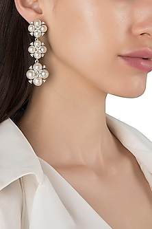 Rhodium Plated Pearl Dangler Earrings by The Bohemian