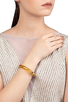 Amber and Gold Ribbon Facet Bangle by The Bohemian