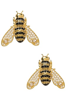 GOLD PLATED BEE MOTIF STUD EARRINGS by THE BOHEMIAN