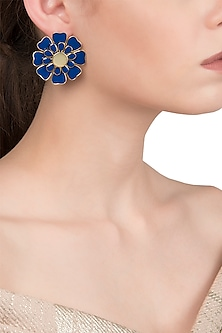 Gold Plated Blue and White Layered Flower Stud Earrings by The Bohemian