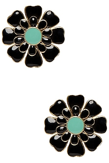 Gold Plated Black and Aqua Blue Layered Flower Stud Earrings by The Bohemian