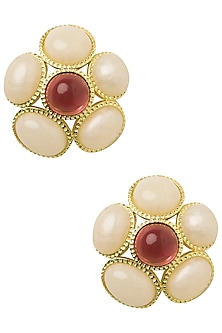 Gold Plated White and Pink Fleur Stud Earrings by The Bohemian