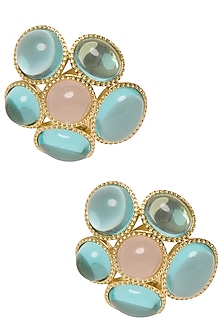Gold Plated Aqua Blue and White Fleur Stud Earrings by The Bohemian