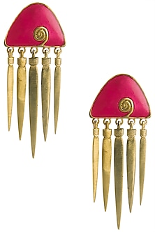 Gold Plated Red Enamel Hanging Earrings by The Bohemian