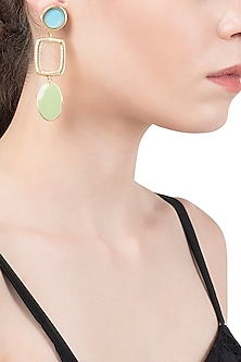 Gold Plated Turquoise and Green Enamel Drop Earrings
