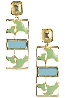 Gold Plated Turquoise and Green Enamel Floral Earrings by The Bohemian