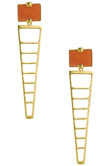 Gold Plated Orange Enamel Stripes Earrings by The Bohemian