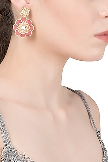 Gold Plated Red Enamel Layered Flower Earrings by The Bohemian