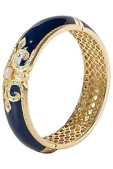 Navy Blue and White Vintage Detailed Bangle by The Bohemian