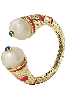 White and Red Cathedral Open Bangle by The Bohemian