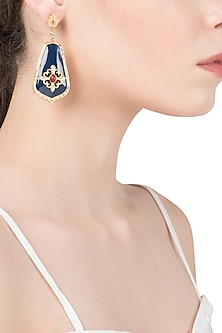 Navy Blue and Red Vintage Detailed Earrings