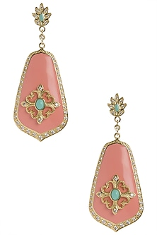 Coral and Turquoise Vintage Detailed Earrings by The Bohemian