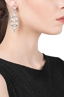 Rhodium Plated Abstract Pearl Dangler Earrings