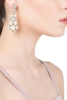 Gold Plated Conical Pearl Dangler Earrings by The Bohemian